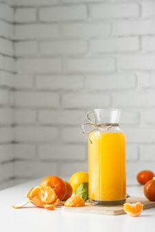 Delicious drink with orange and lemon