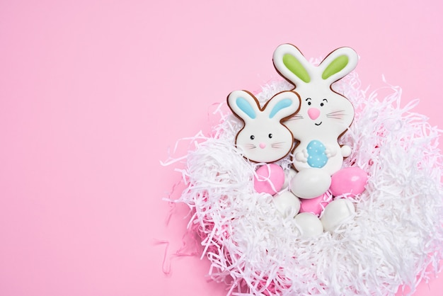 Delicious easter cookies in shape of bunny and eggs