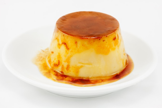 Delicious egg baked caramel flan liquid isolated