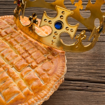 Delicious epiphany pie dessert on wooden background