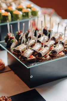 Delicious festive buffet with canapes and different delicious meals