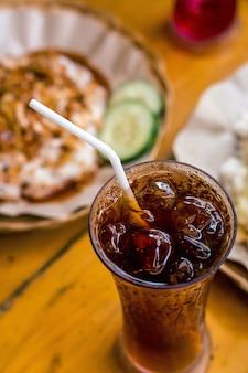 Delicious food drink indonesian ayam geprek ice tea