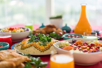 Delicious food ready and decorated