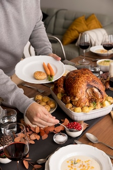 Delicious food served on thanksgiving day