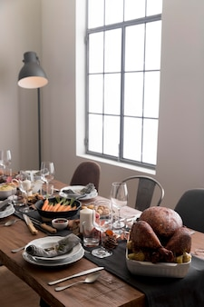 Delicious food on table forthanksgiving day