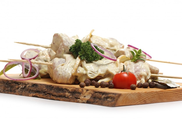Delicious food on a wooden board