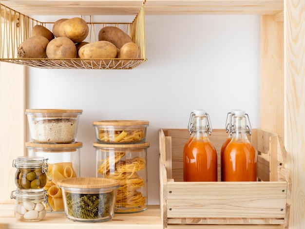 Delicious foodstuff in containers arrangement