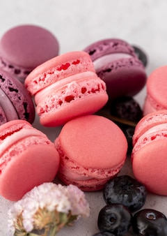 Delicious forest fruits macarons compositions