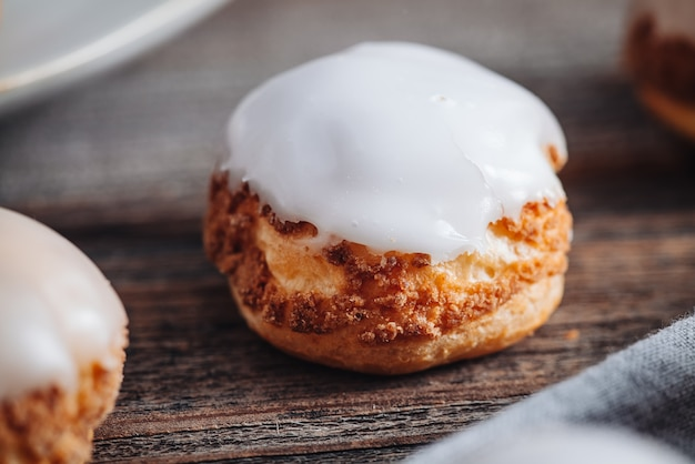 Delicious french choux craquelin pastries filled with cream