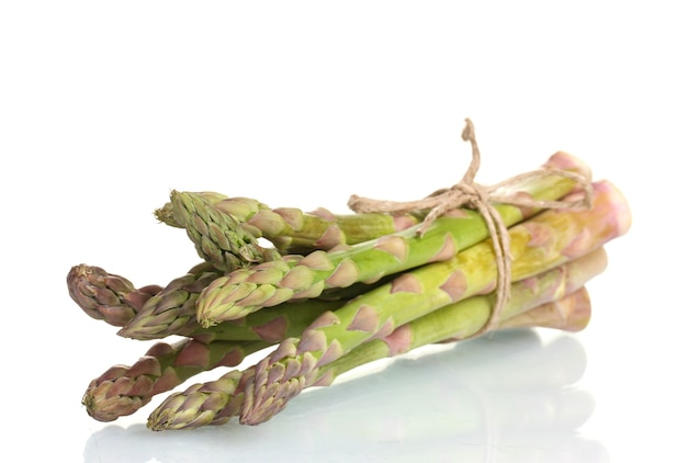 Delicious fresh asparagus isolated on white