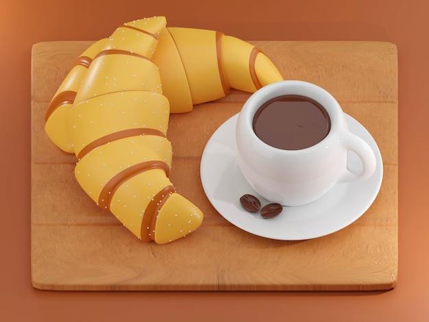 背景のおいしい新鮮なクロワッサンクロワッサンはフランスの朝食の3dレンダリングを分離しました