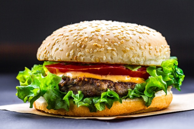 Delicious fresh homemade burger on a dark . fast and bad food