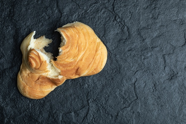 Delicious fresh pastry on black.