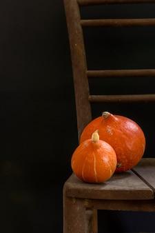 Вкусные свежие тыквы на столе