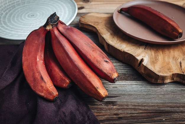 Delicious fresh raw red bananas