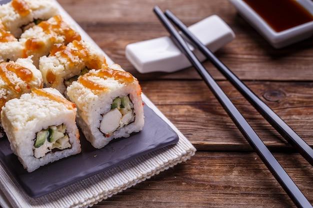 Delicious fresh rolls closeup