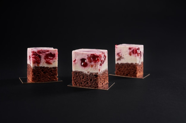 Delicious fresh slices of cake made with biscuit and mousse layer
