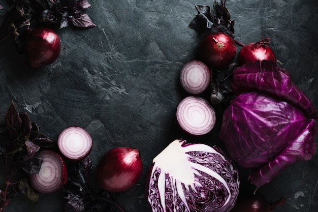 Delicious fresh veggies on a grunge copy space background