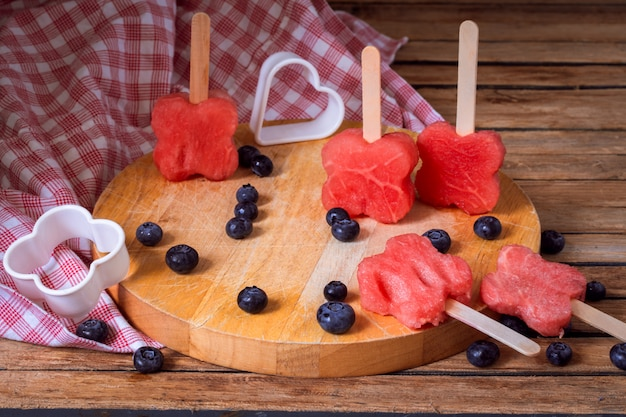 Delicious fresh watermelon with blueberries