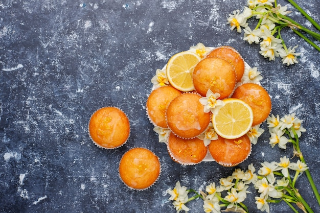 Delicious freshly baked homemade lemon muffins with lemons on a plate on concrete
