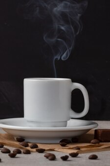 Delicious freshly made black coffee. break time concept.
