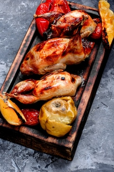 Delicious fried quail