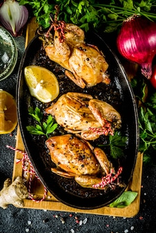 Delicious fried roasted quails