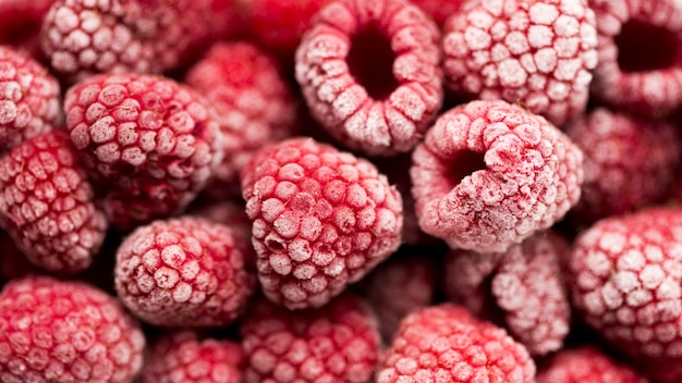 Delicious frozen raspberry forest fruit