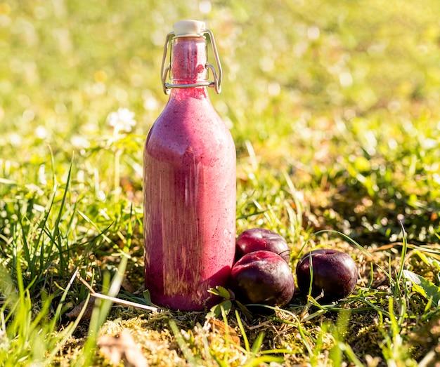 Вкусный фруктовый сок на траве