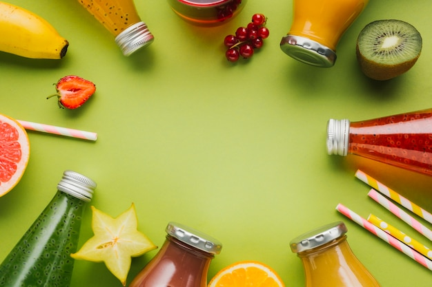 Delicious fruit and smoothies frame