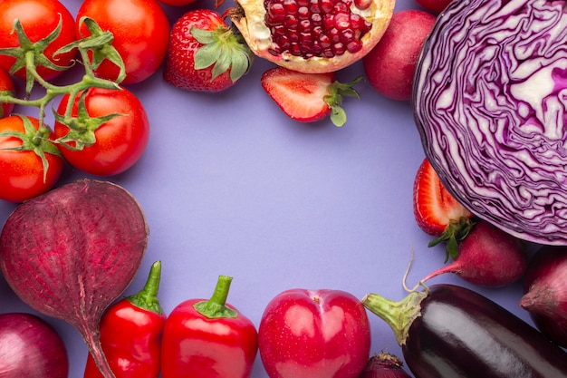 Delicious fruits and vegetables flat lay
