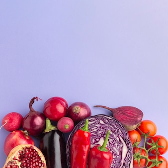 Delicious fruits and vegetables top view