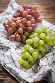 Delicious grapes on a kitchen table