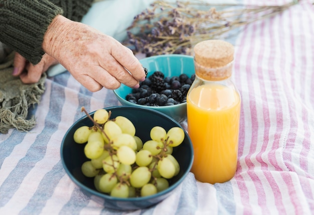 Delicious grapes and orange juice