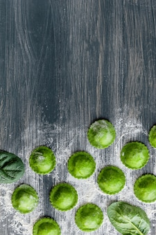 Delicious green ravioli