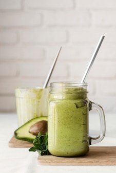 Delicious green smoothie with avocado
