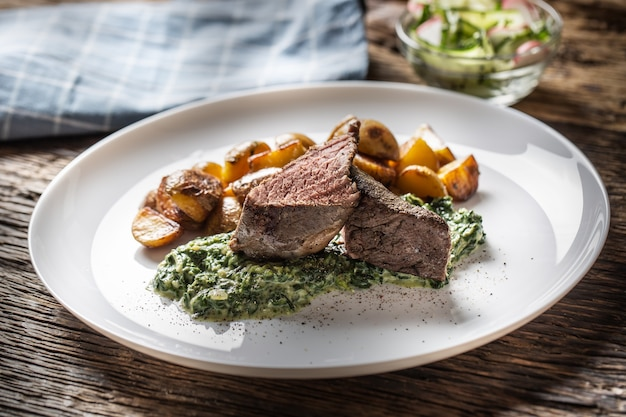 Вкусный стейк из говядины sous vide на гриле подается на белой тарелке с хрустящим жареным картофелем, соусом из шпината и салатом из свежих листьев салата.