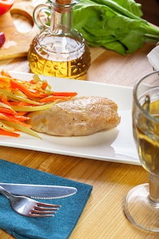 Delicious grilled chicken breast fillet and fried bell pepper