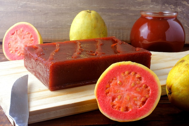 Delicious guava candy on a wooden board
