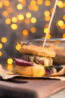 Delicious hamburger with bokeh effect