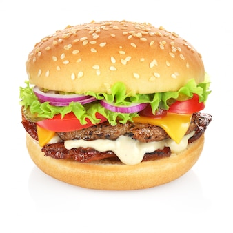 Delicious hamburger with tasty ingredients