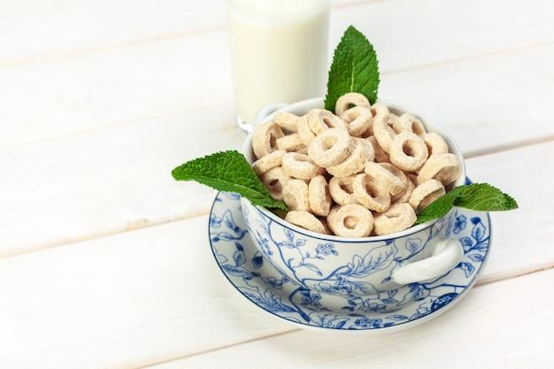 Delicious healthy breakfast. grain cereal rings