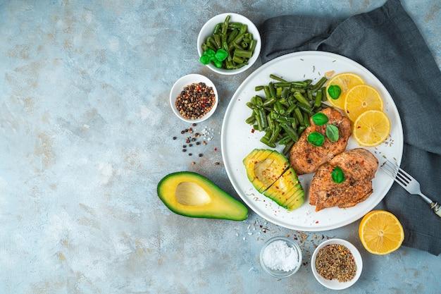 アボカドと豆と鶏ササミのおかずと一緒に美味しくてヘルシーな朝食。