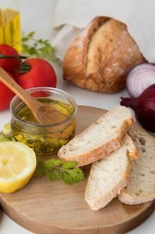Delicious healthy breakfast with bread