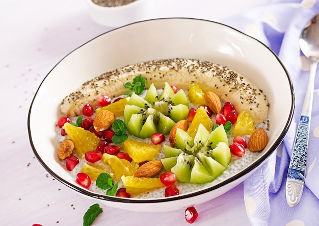 Delicious and healthy chia pudding with banana, kiwi and chia seeds