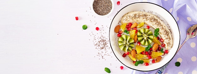 Delicious and healthy chia pudding with banana, kiwi and chia seeds.  . .