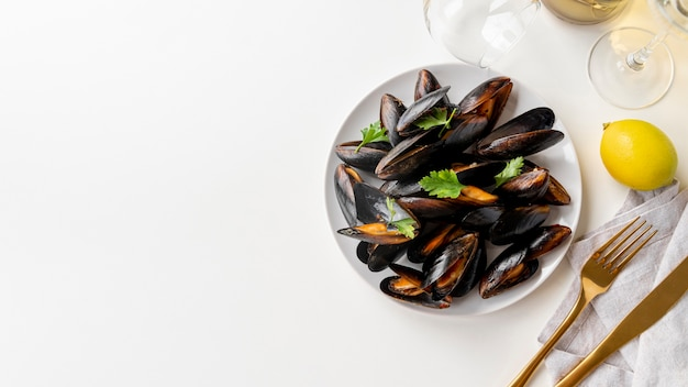 Delicious healthy mussels with copy space