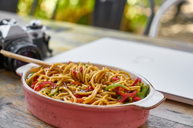 Delicious and healthy noodles on the table