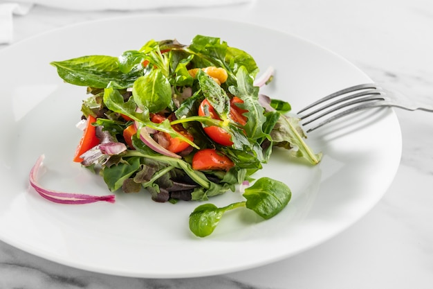 Delicious healthy salad on a white plate arrangement