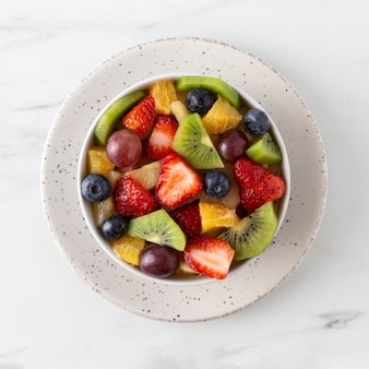 Delicious healthy snack with various fruit